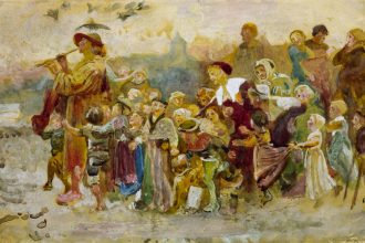 Study for 'The Pied Piper of Hamelin': The Children circa 1871 by George John Pinwell 1842-1875